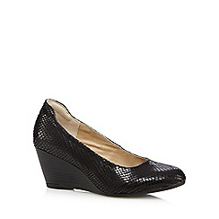 Hush Puppies - Black reptile-effect mid wedge heeled shoes
