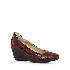Hush Puppies - Burgundy reptile-effect mid wedge heeled shoes