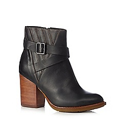 Hush Puppies - Black leather high heeled ankle boots