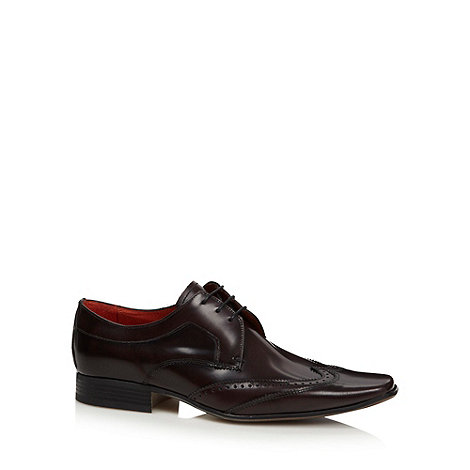 Jeff Banks - Designer plum leather brogue trimmed shoes