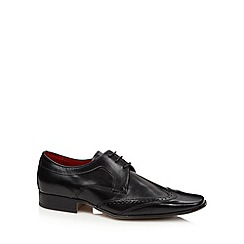 Jeff Banks - Designer black leather brogue trimmed shoes