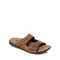 Mantaray - Tan double buckle mule sandals