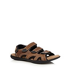 Mantaray - Tan leather rip tape sandals