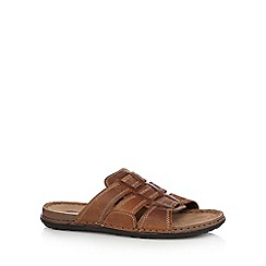 Mantaray - Tan leather weave strap sandals