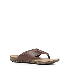 Mantaray - Brown leather riviera toe thong sandals