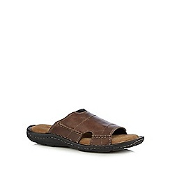 Mantaray - Brown leather slip on sandals