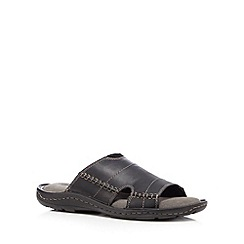 Mantaray - Black leather slip on sandals