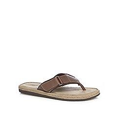 Mantaray - Brown 'Floridaö leather flip flops