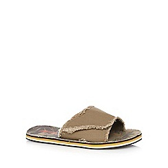 Mantaray - Khaki frayed mule flip flops