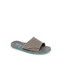 Mantaray - Grey frayed mule flip flops