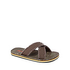 Mantaray - Dark brown frayed mule flip flops
