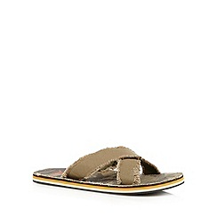 Mantaray - Khaki frayed mule sandals