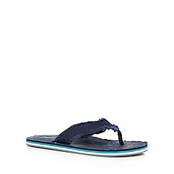 Mantaray - Navy frayed flip flops