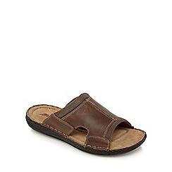 Mantaray - Dark brown leather mule sandals