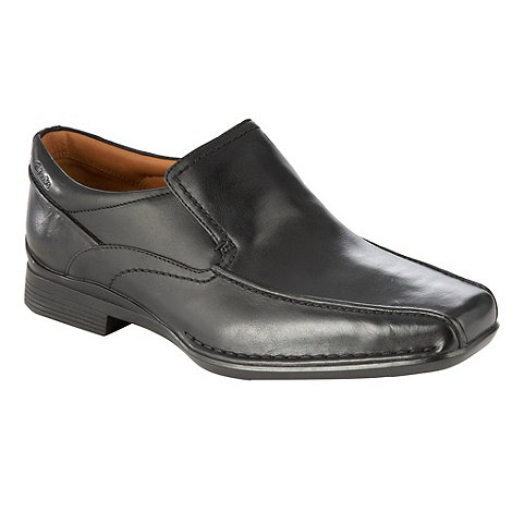 Clarks - Black stitched toe slip on shoes