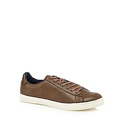 Red Herring - Brown leatherette lace up trainers