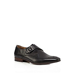 Red Herring - Black punched monk strap shoes