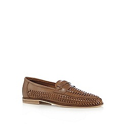 Red Herring - Tan woven slip-on loafers