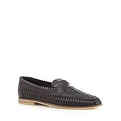 Red Herring - Black leather woven loafers