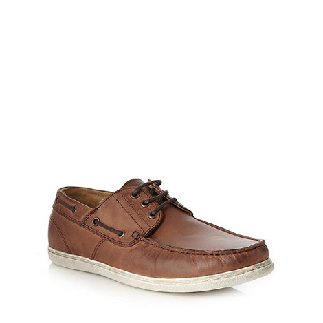 Mantaray - Brown leather boater shoes