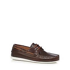 J by Jasper Conran - Dark brown weaved vamps boat shoes