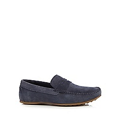 Red Herring - Navy suede saddle driver shoes