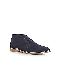Red Herring - Navy suede lace up boat shoes
