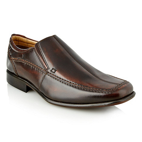 Thomas Nash - Brown square toe slip on shoes