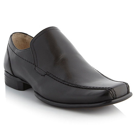 Thomas Nash - Black top stitched slip-on shoes