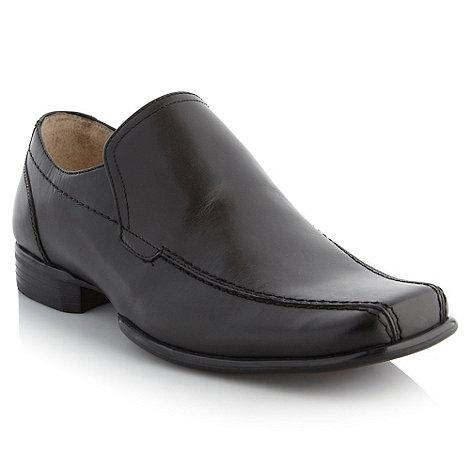 Thomas Nash - Black top stitched slip-on shoes