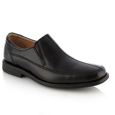 Henley Comfort - Black curved panelled slip-on shoes