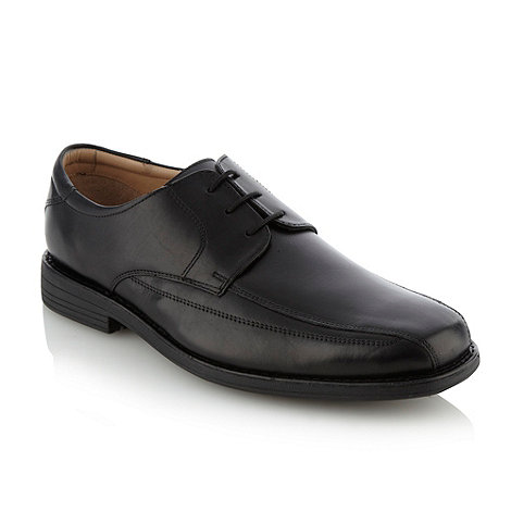 Henley Comfort - Wide fit black curved top stitched lace-up shoes