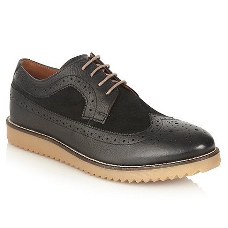 Frank Wright - Black contrasting textured brogues