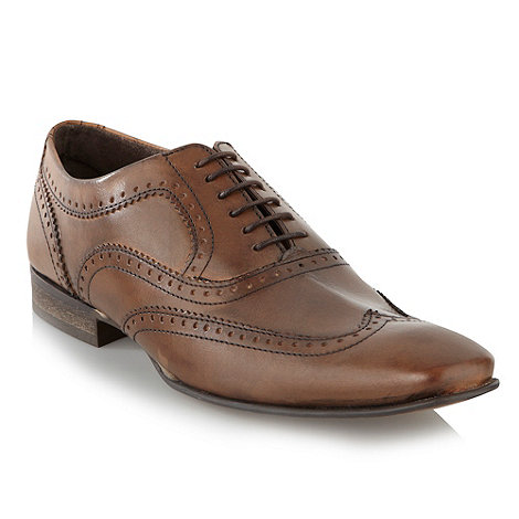 Base London - Brown punched zigzag trimmed shoes
