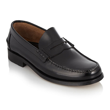 Loake - Black leather penny loafers