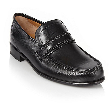 Loake - Wide fit black classic bar leather loafers