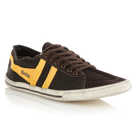 Gola - Dark brown +Quota+ canvas panelled trainers
