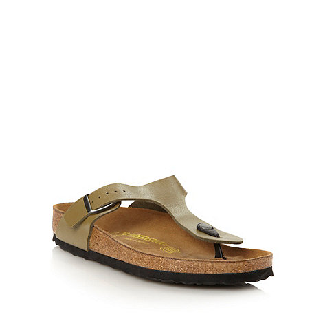 Birkenstock - Khaki buckled t-strapped sandals