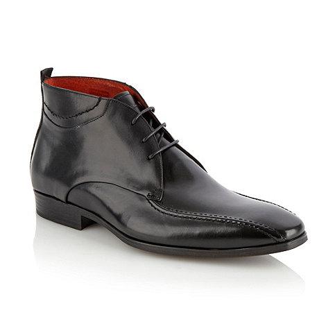 Jeff Banks - Designer black glazed leather ankle boots