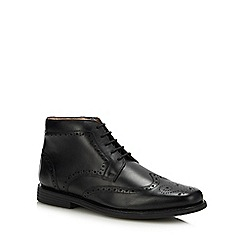 Henley Comfort - Black leather 'Thames' wide fit Chukka boots