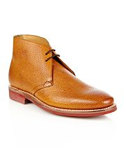 Designer tan textured leather chukka boots
