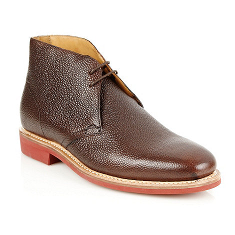 Jeff Banks - Designer brown textured leather chukka boots