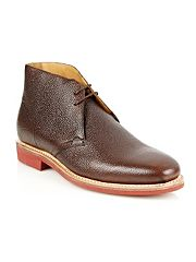 Designer brown textured leather chukka boots