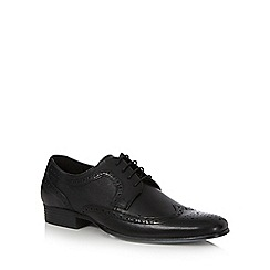 Red Herring - Black textured wingtip brogues