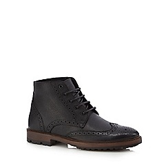 Red Herring - Black perforated chukka boots