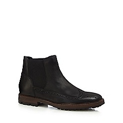 Red Herring - Black perforated Chelsea boots