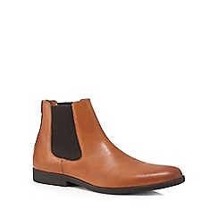 J by Jasper Conran - Tan 'Bentley' Chelsea herringbone panel boots