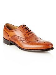 Designer tan leather brogues