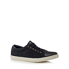 Red Herring - Navy mixed material lace up shoes