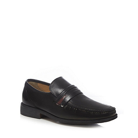 Clarks - Wide fit black leather stab stitched loafers